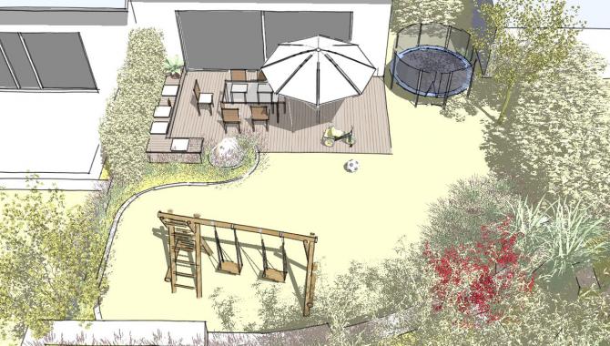 Familiengarten mit Terrasse und Schaukel