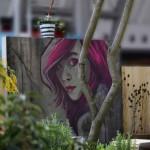 Die Gestaltung mit dem Graffiti auf der Betonwand, dem rustikalem Holzzaun und den Disteln vom Vorjahr wurde einer urbanen Brachfläche nachempfunden. (Bauausführung: Fa. Schradi, Graffiti: A. Szabo, Pflanzen: Sigrun Schnee)